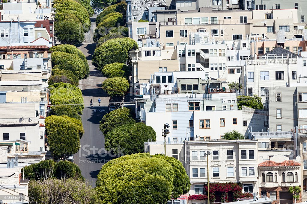 Lombard street on Russian hill in San Francisco (USA) stock photo
