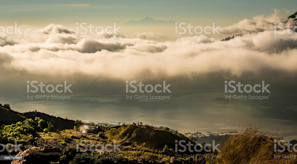 Lombok from Mount Batur royalty-free stock photo