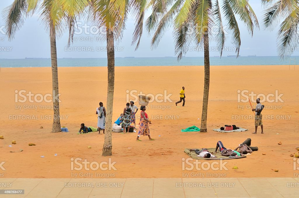 Lome Beach People stock photo