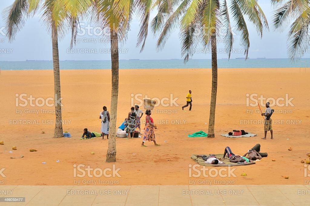 Lome Beach People stock photo
