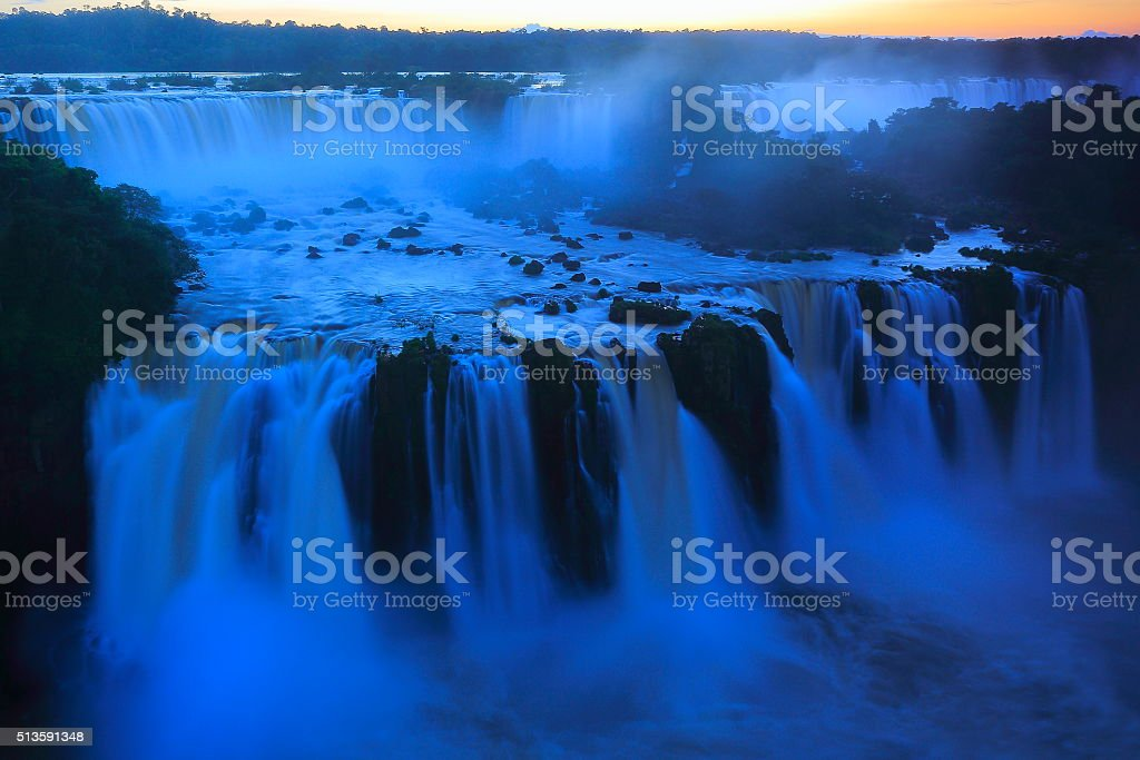 lomg exposure blurred milky Iguacu falls, Brazil Argentina, South America stock photo