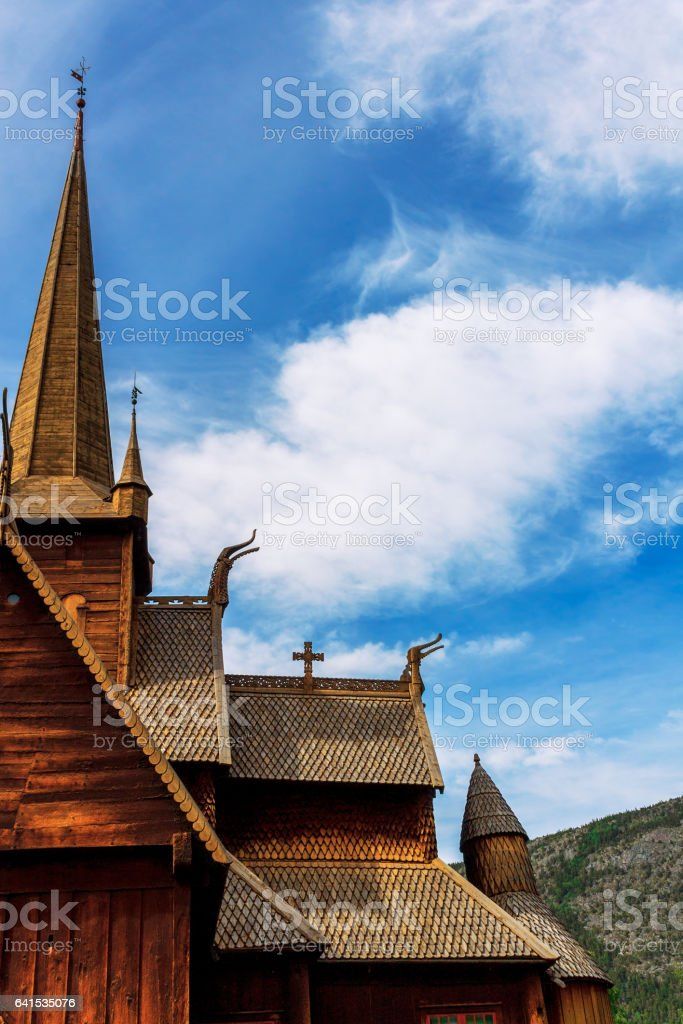 Lom's stavkirke-wooden church of 12th century stock photo