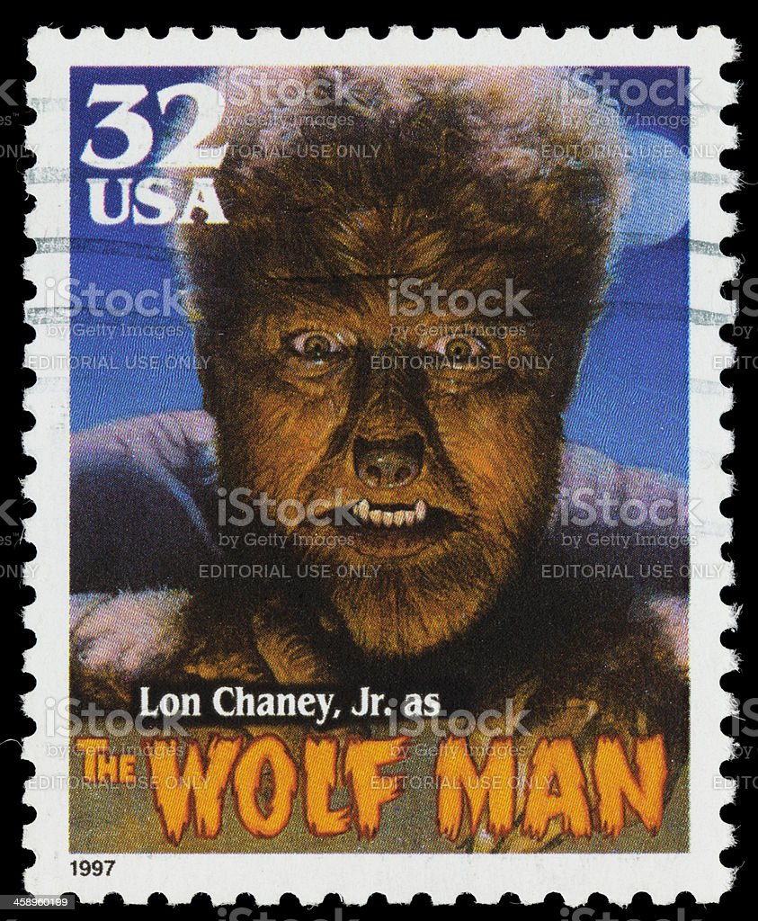 USA Lon Chaney Jr. Wolf Man postage stamp stock photo