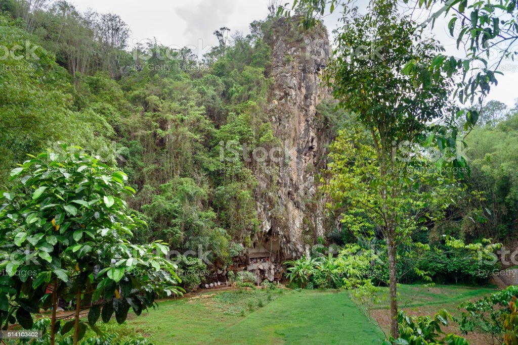 Londa is cliffs and cave burial site in Tana Toraja stock photo