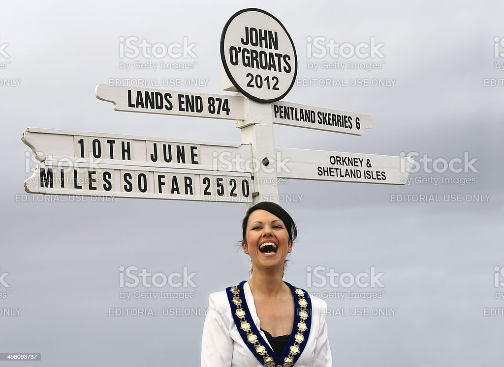 London 2012 John O'Groats sign, Highland Council Convener, Caithness stock photo