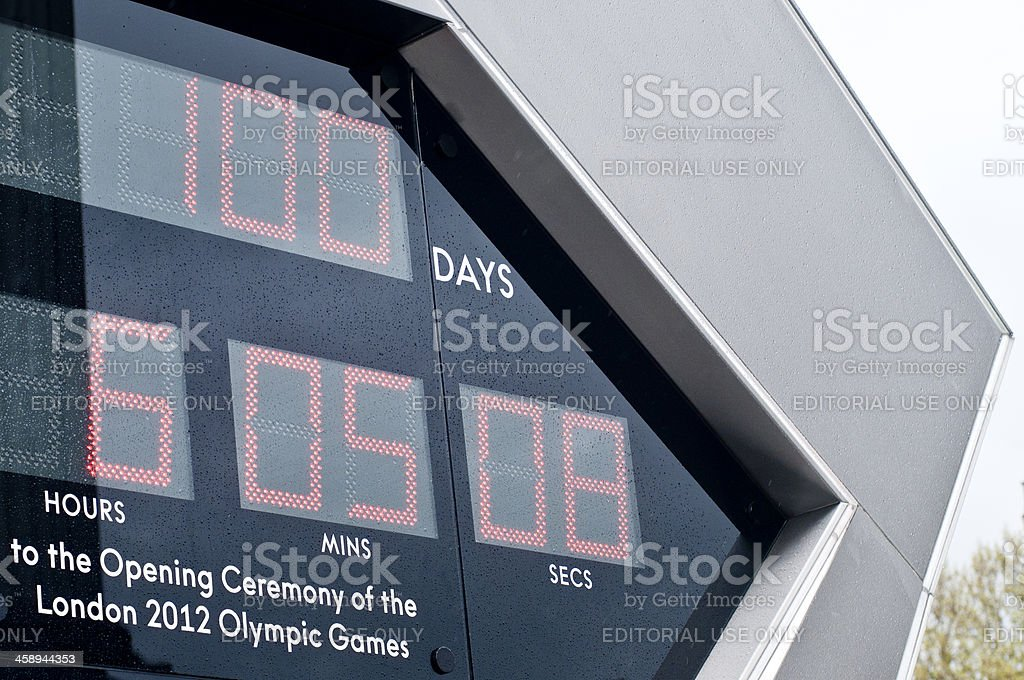London 2012 Olympics Games Clock Counting Down, 100 days left royalty-free stock photo
