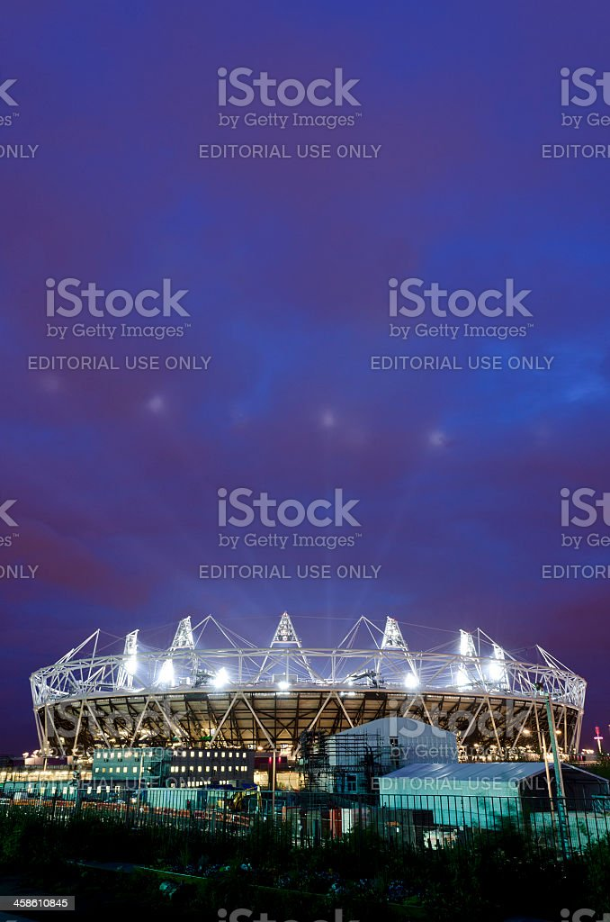 London 2012 Olympics Stadium opening ceremony, night shot stock photo