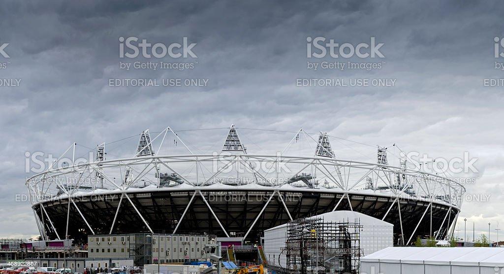 London 2012 Olympics Stadium under a cloudy sky royalty-free stock photo