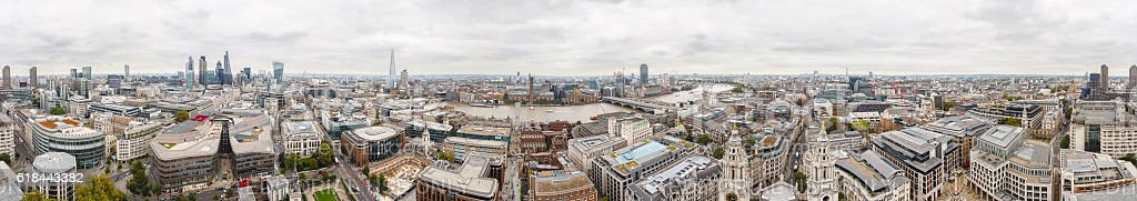 London 360 panorama from St Paul Cathedral stock photo