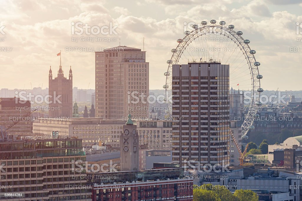 London Aerial Cityscape at sunset stock photo
