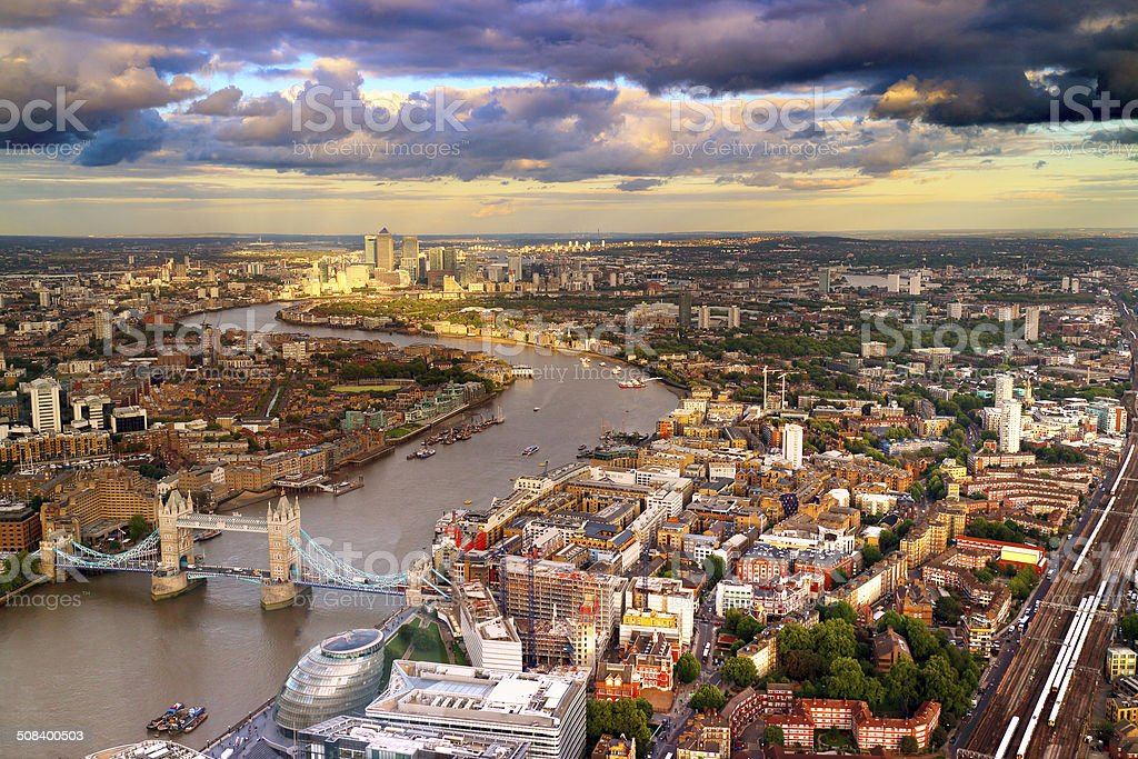 London aerial view at twilight stock photo