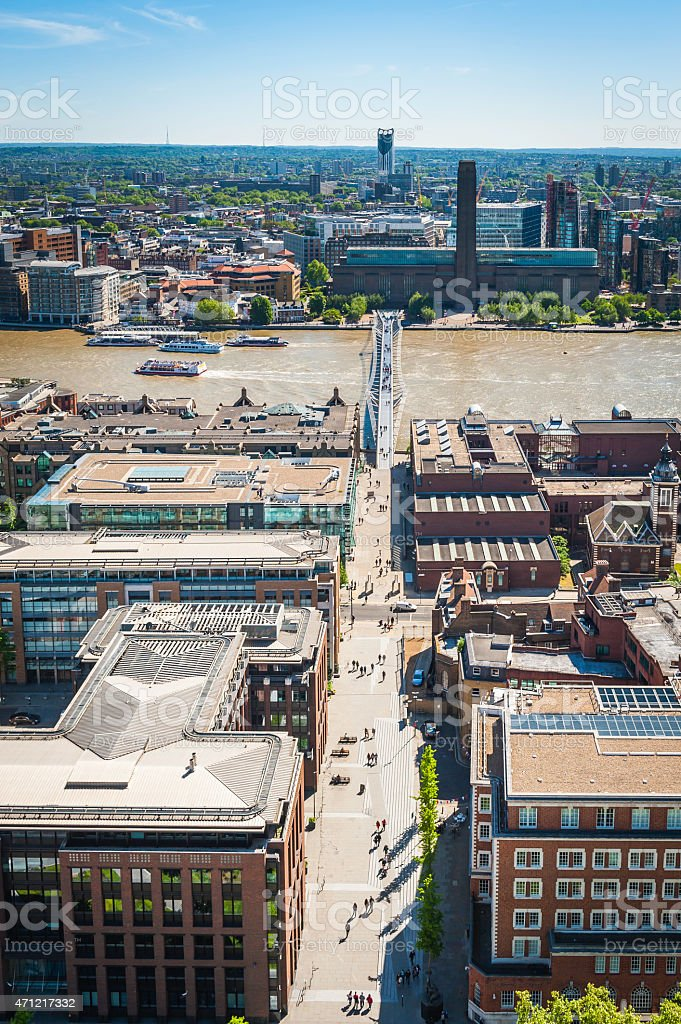 London aerial view over Millenium Bridge River Thames Tate Modern stock photo