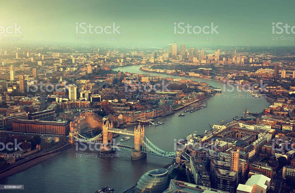 London aerial view with  Tower Bridge in sunset time stock photo