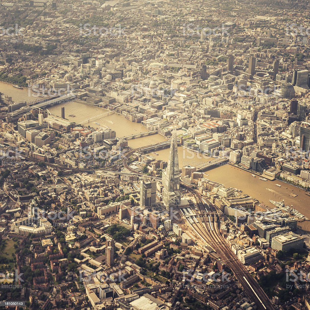 london airplane aerial view royalty-free stock photo