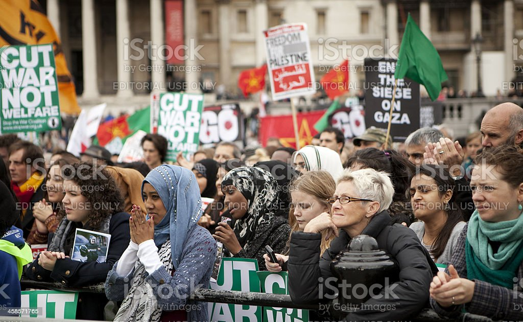 London anti-war demonstrators stock photo