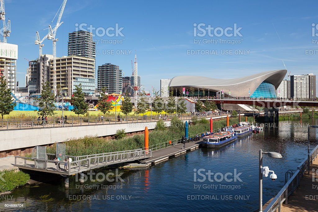 London Aquatics Centre and The International Quarter stock photo