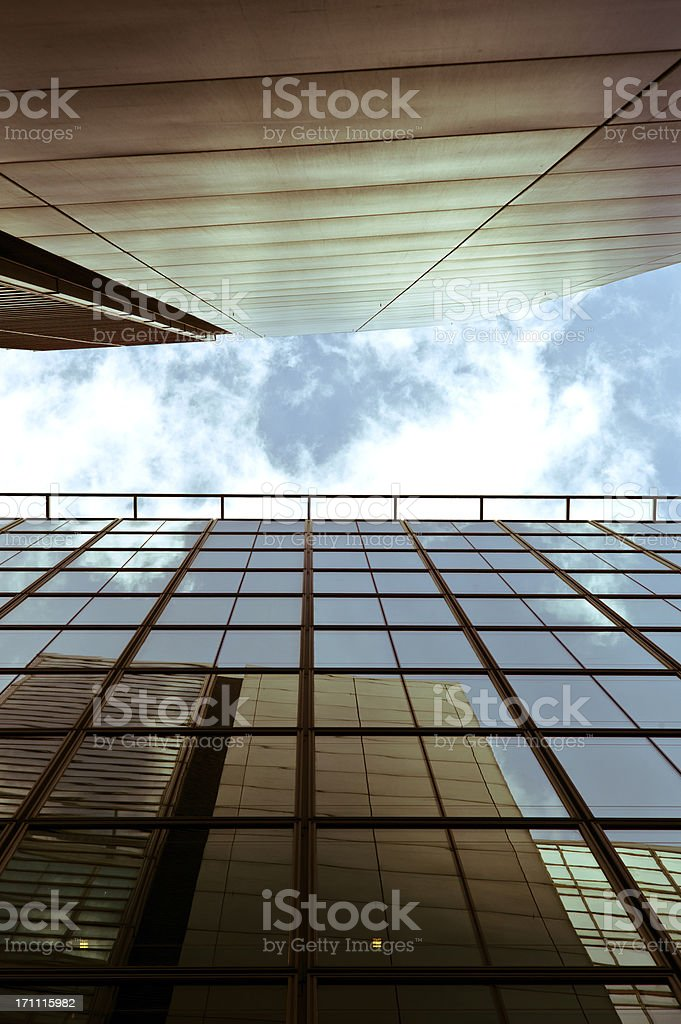 London Architecture: modern office buildings with sky reflection stock photo