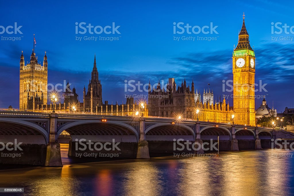 London at night: Houses of Parliament and Big Ben stock photo