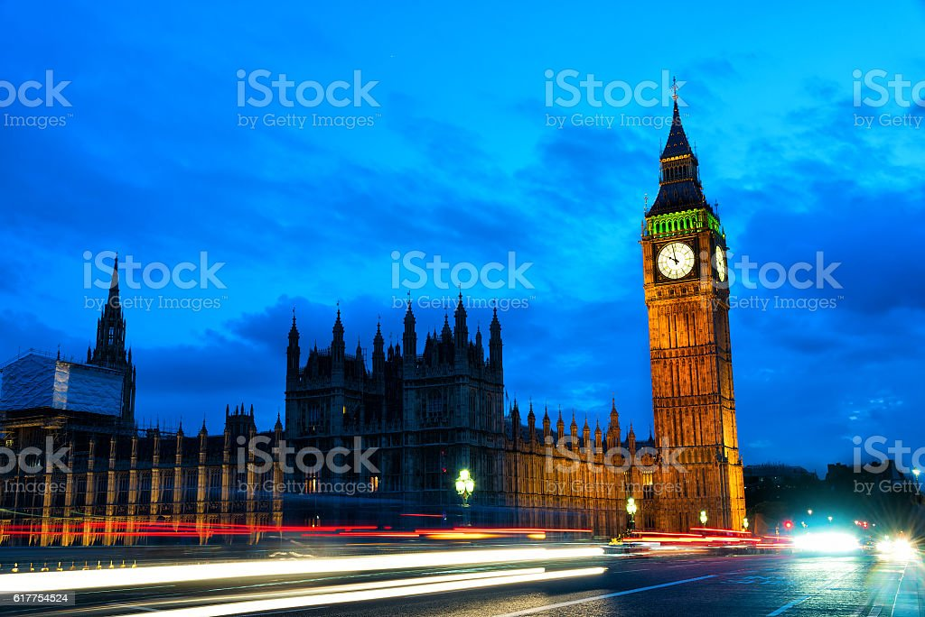 London at night Houses of Parliament and Big Ben stock photo