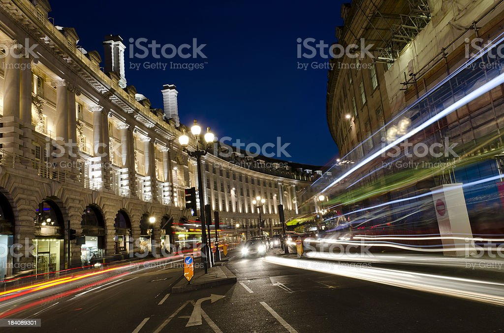 London at night, Regent Street stock photo