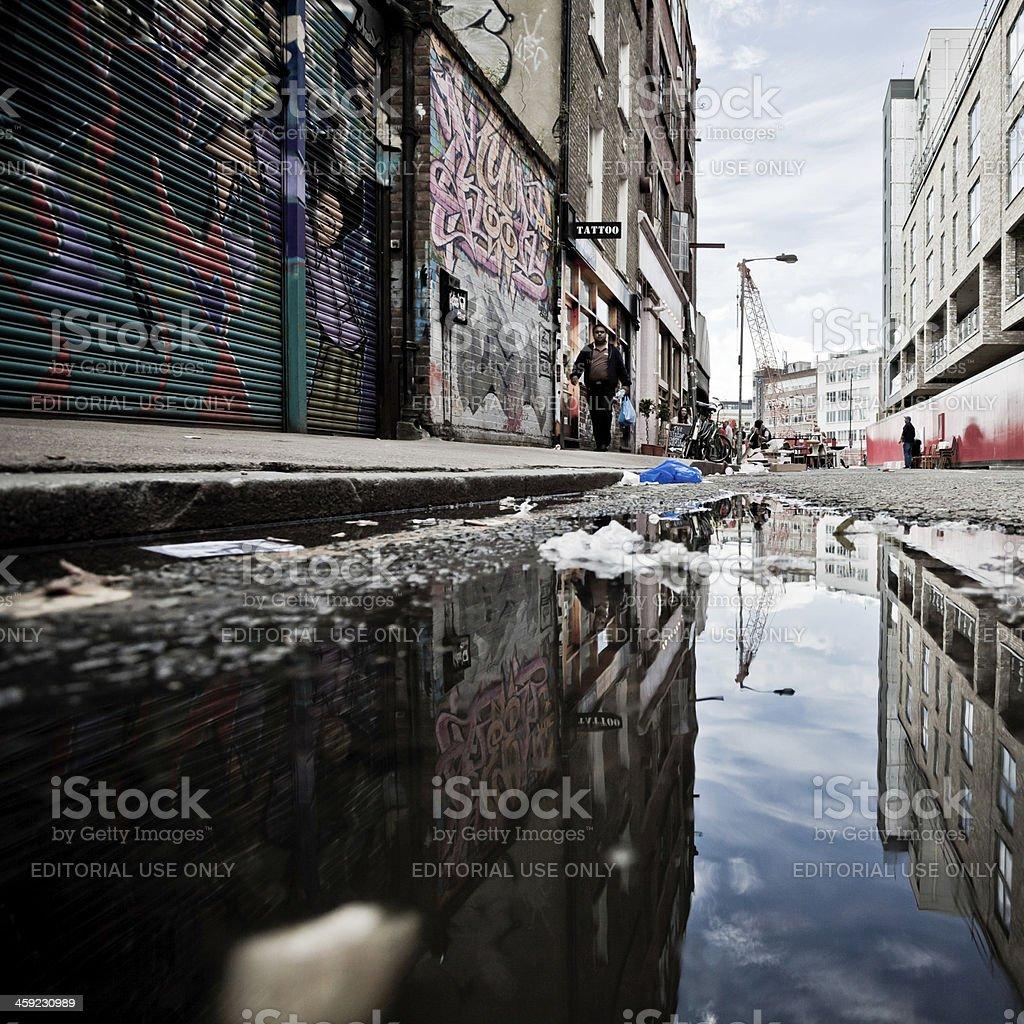 London Backstreet Urban Scene and Graffiti stock photo