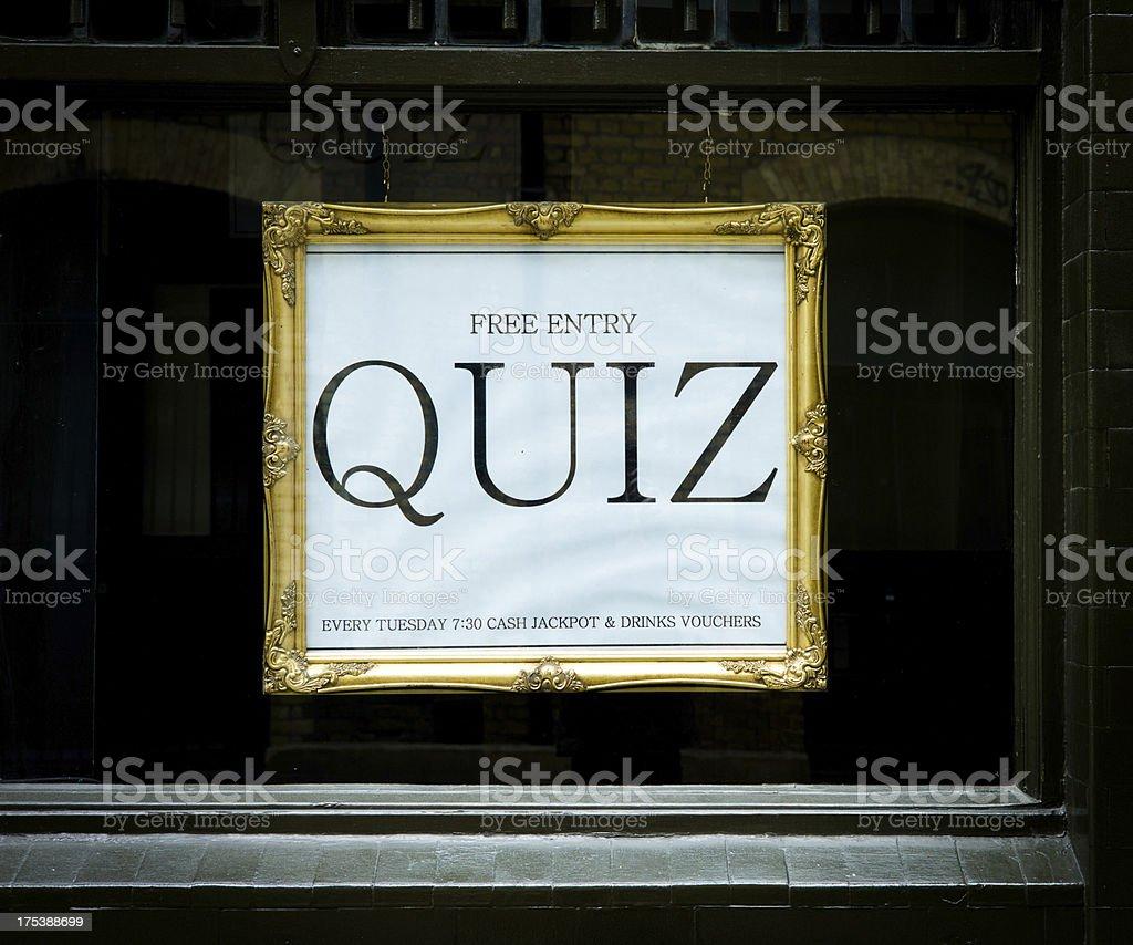 london bar: quiz night sign royalty-free stock photo