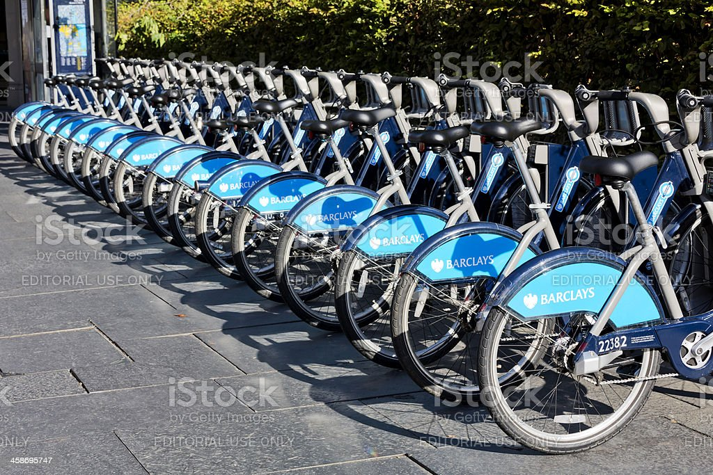 London - Barclays bicycle hire point stock photo