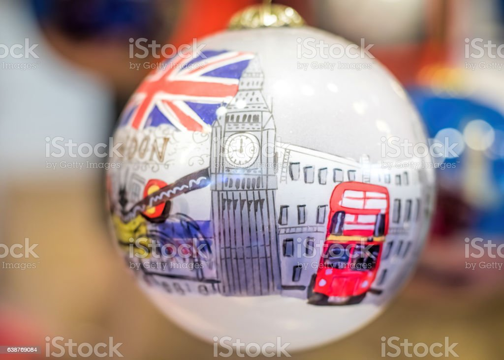 London Bauble Christmas Tree Decoration Gift stock photo