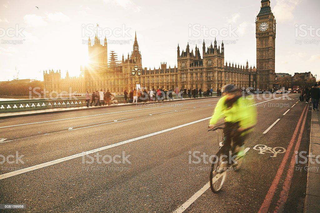 London bicycle - Westminster Bridge stock photo