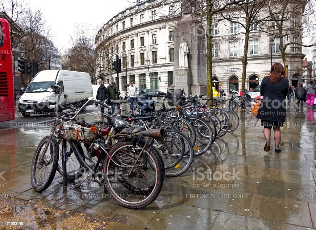 London bicycles in the rain royalty-free stock photo