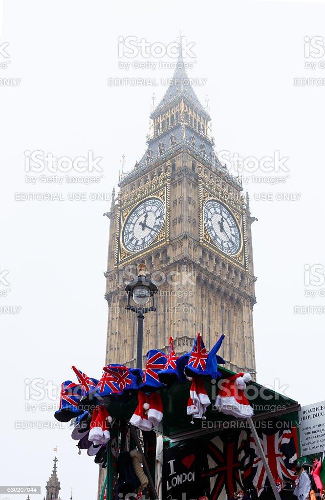 London, Big Ben and British souvenirs stall. stock photo