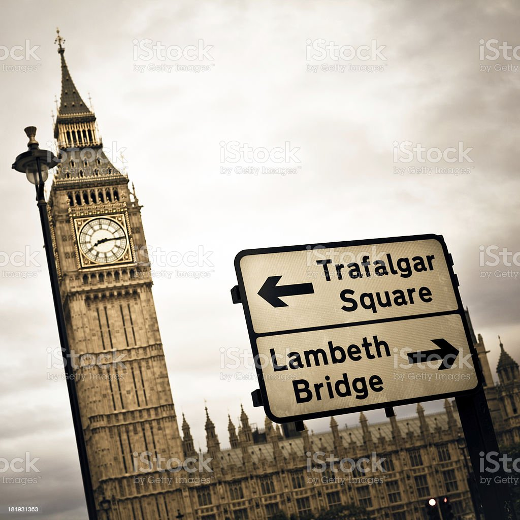 London Big Ben and Directions Signs stock photo