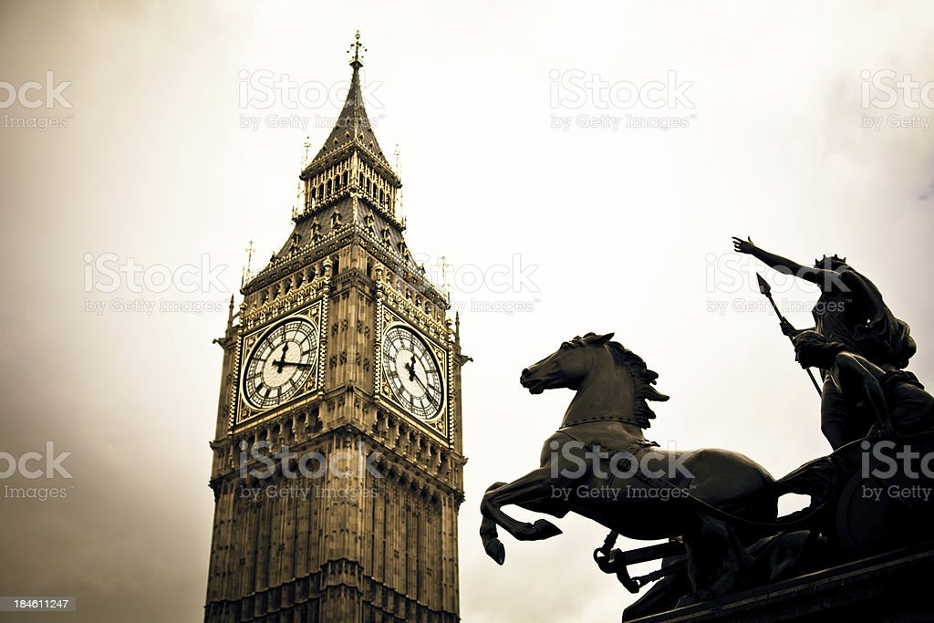 London Big Ben and Horse Statue royalty-free stock photo