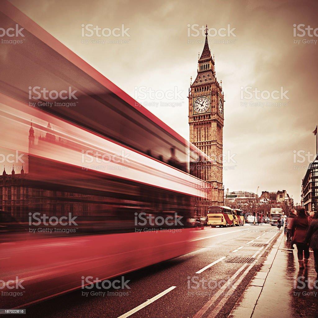 London Big Ben and traffic on Westminster Bridge stock photo