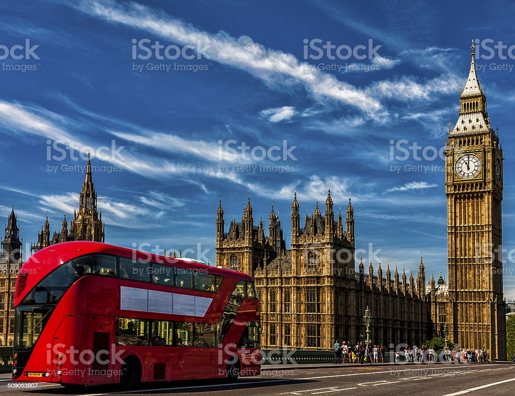 London Big Ben and traffic on Westminster Bridge stock photo