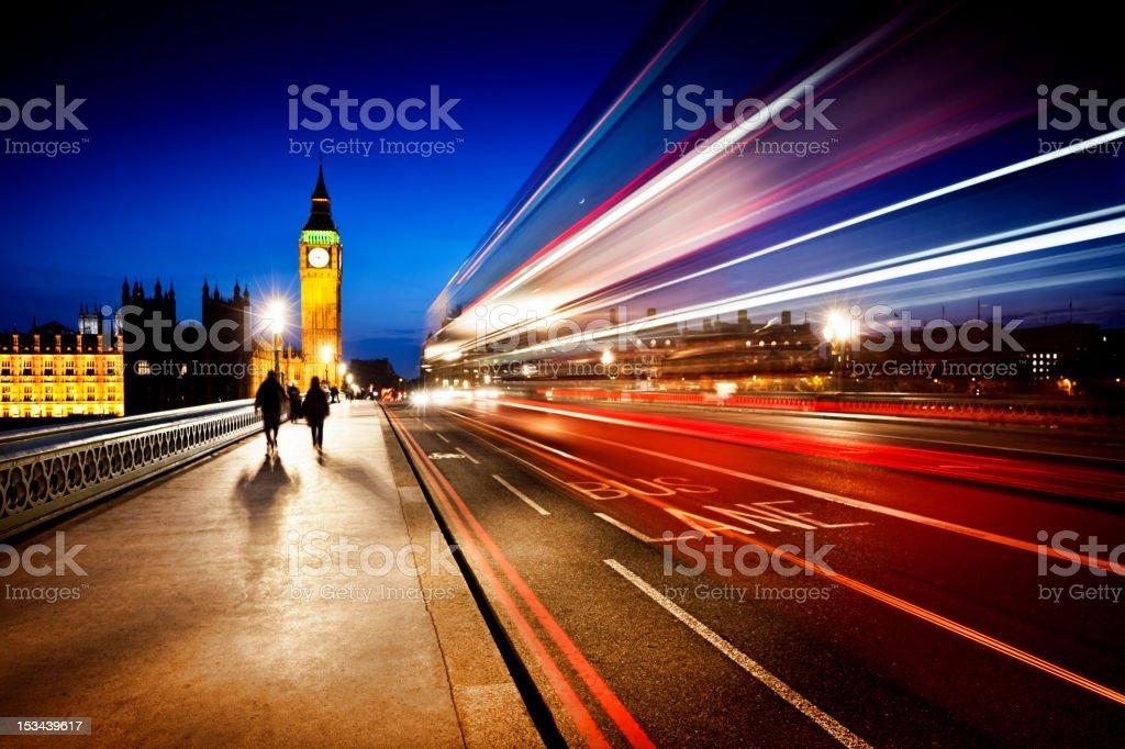 London Big Ben and Westminster Bridge at dusk stock photo