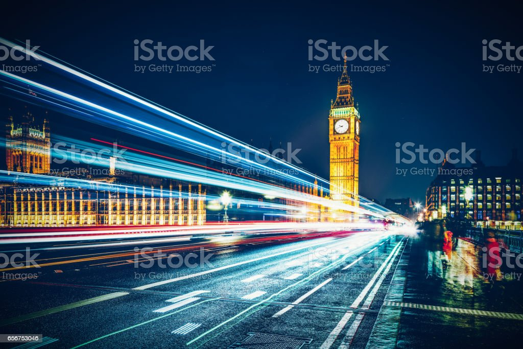 London Big Ben and Westminster Bridge at dusk stock photo