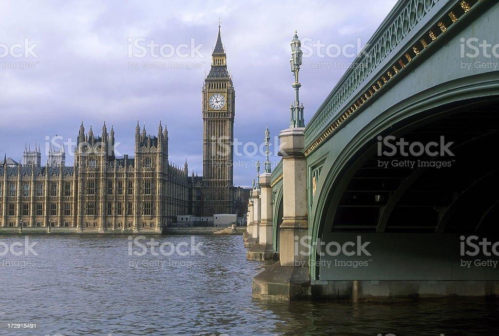 London, Big Ben and Westminster Bridge royalty-free stock photo
