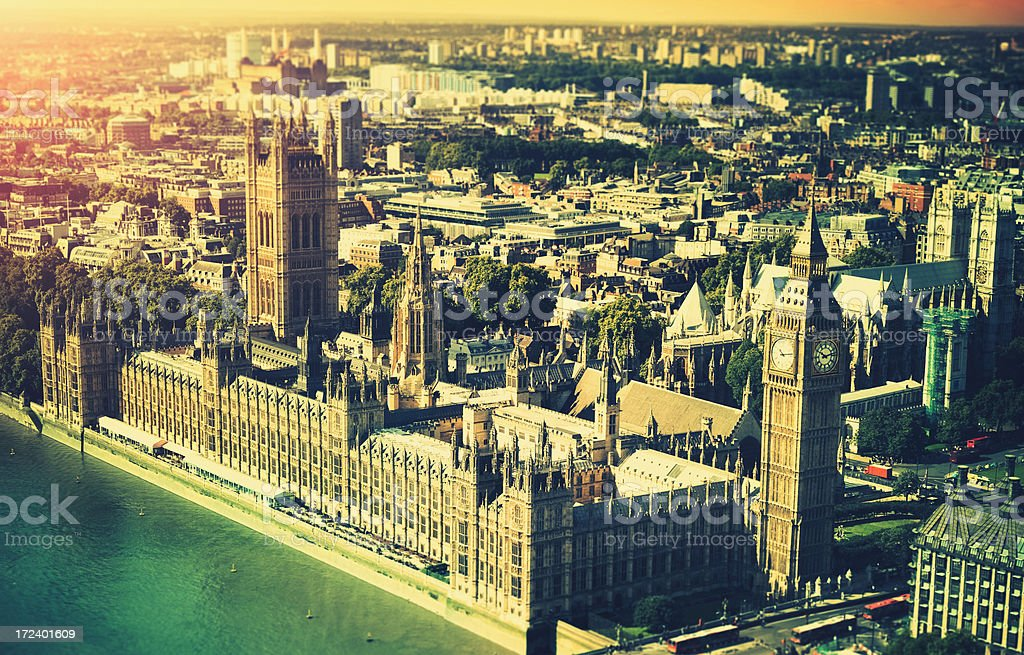 London Big Ben and westminster palace aerial view royalty-free stock photo