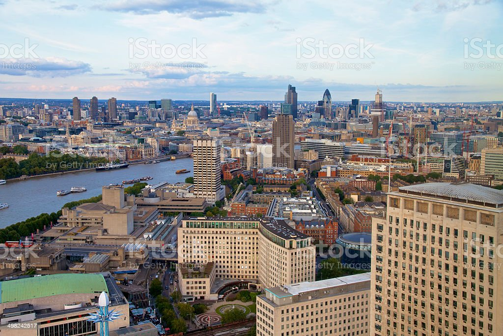 London - Big Ben, Houses of Parliament and River Thames stock photo