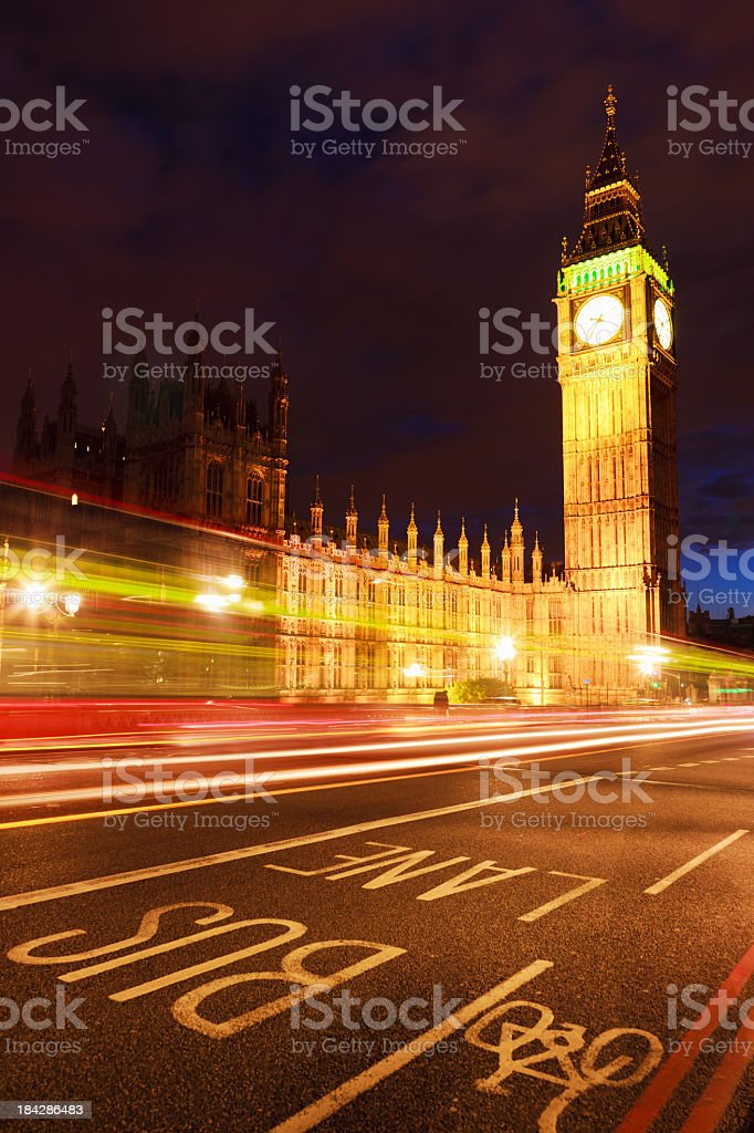 London Big Ben Houses of Parliament at Night City Traffic royalty-free stock photo