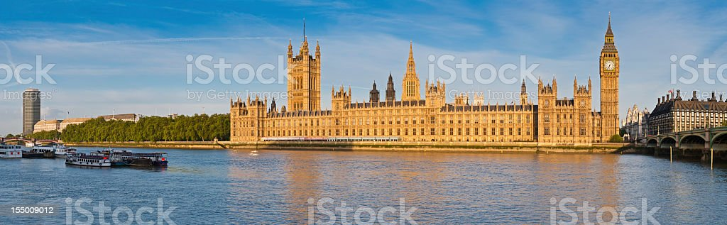 London Big Ben Houses of Parliament Thames Westminster panorama stock photo