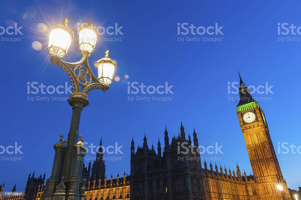 London Big Ben Parliament Westminster Palace illuminated by lamplight UK royalty-free stock photo