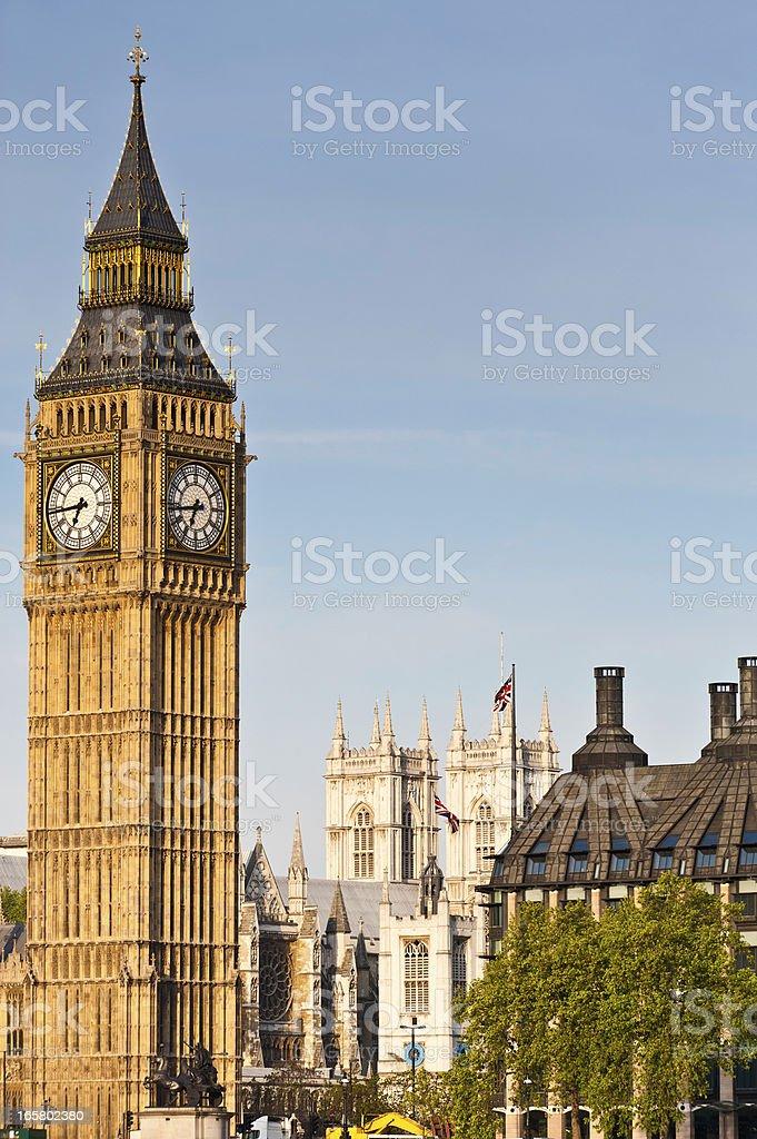 London Big Ben Westminster Abbey Union Jack flags UK royalty-free stock photo