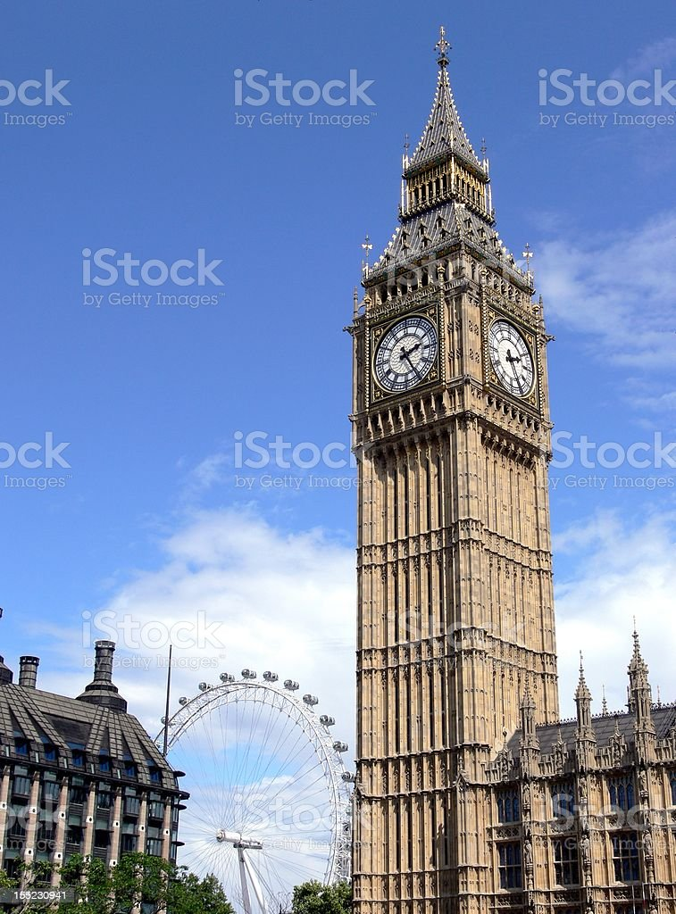 London Big Ben Westminster and Eye stock photo