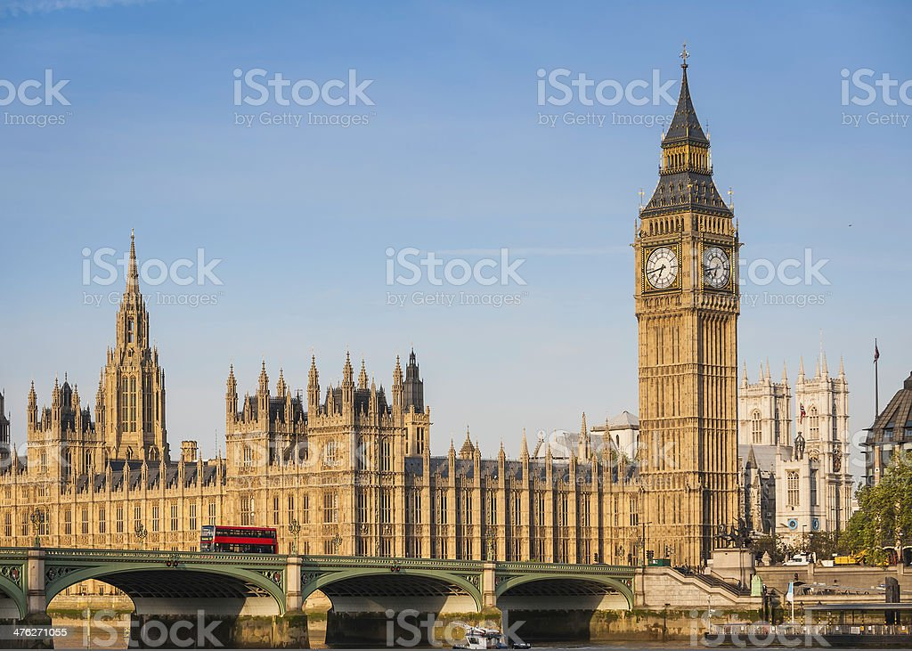 London Big Ben Westminster Bridge Parliament red bus Thames UK stock photo