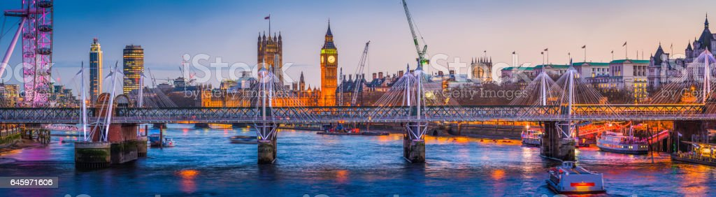 London Big Ben Westminster landmarks illuminated at sunset Thames panorama stock photo