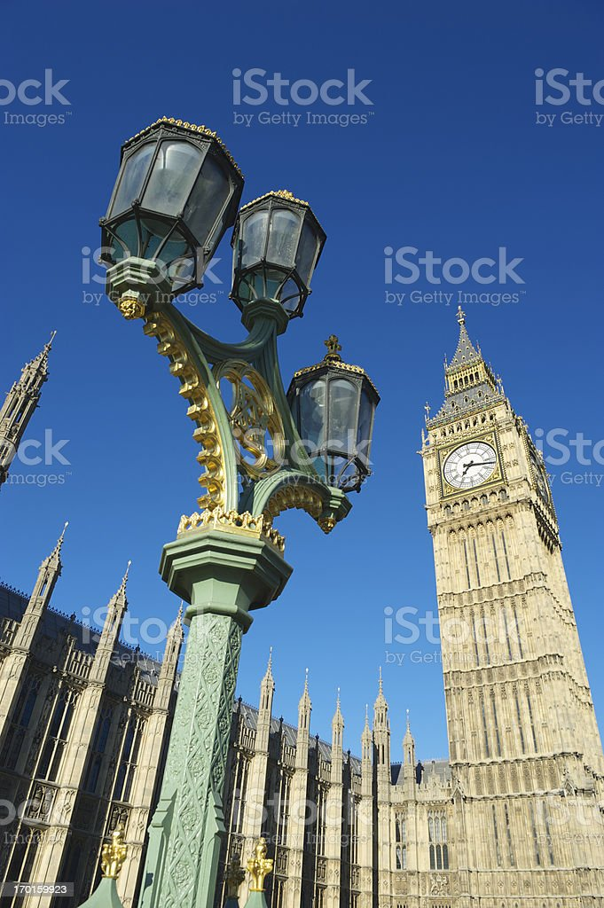 London Big Ben Westminster Palace Bright Blue Sky royalty-free stock photo