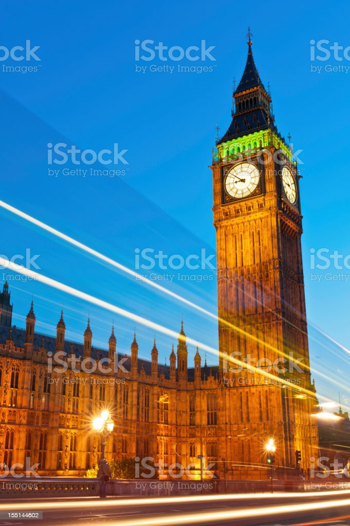 London Big Ben Westminster Palace traffic zoom night UK royalty-free stock photo