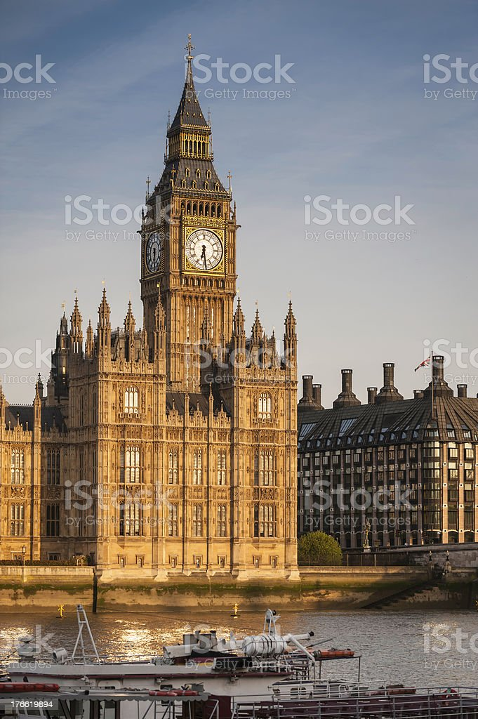 London Big Ben Westminster Parliament glowing in warm dawn light royalty-free stock photo